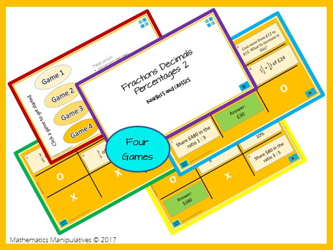 Fractions Decimals Percentages Noughts and Crosses Powerpoint Games 2
