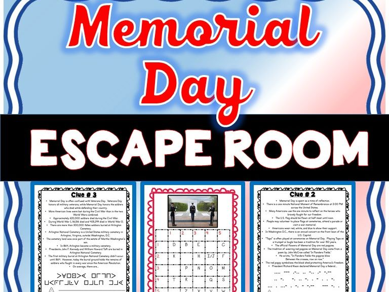 Memorial Day ESCAPE ROOM - Fun Facts, Heroes, Tomb of Unknown Soldier