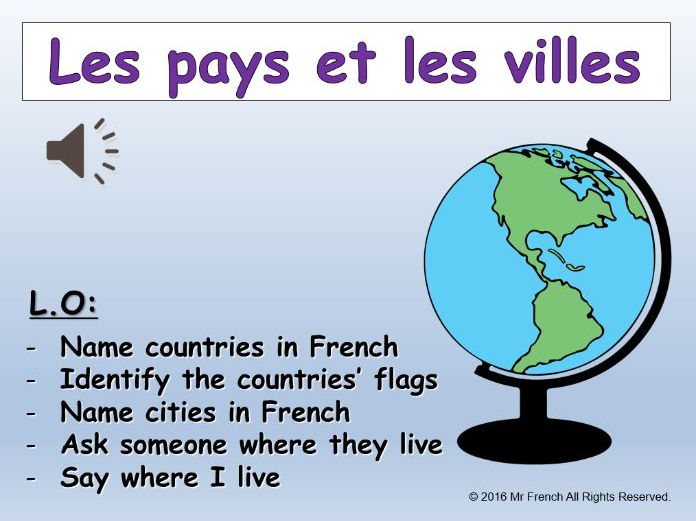 Les pays et les villes (Countries and cities in French) 3 lessons! Y5   4th Grade