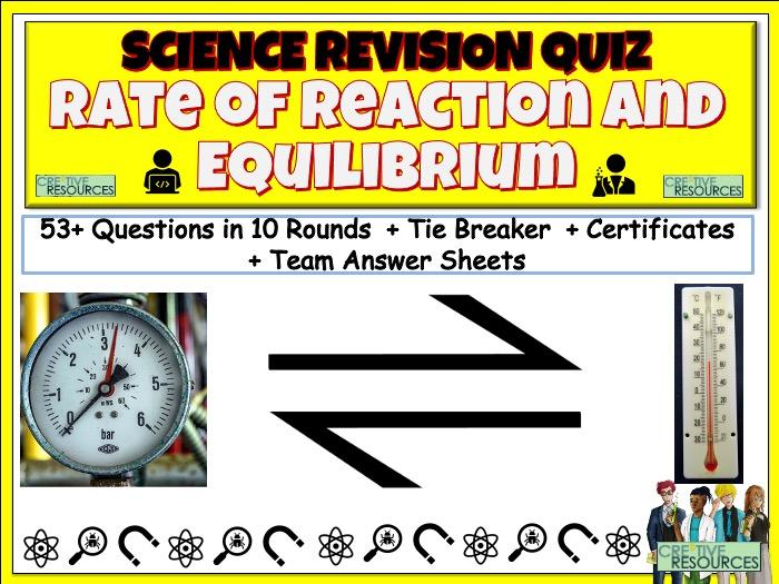 Rate and Equilibrium Science Quiz