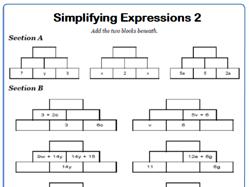 Simplifying Expressions Maths Worksheet 2