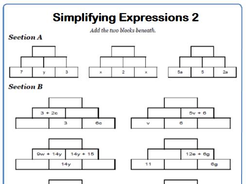 Simplifying Expressions Maths Worksheet 2