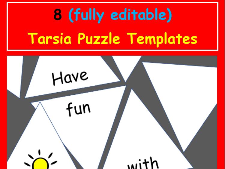Tarsia Puzzle Template Set (8 editable TEMPLATES)