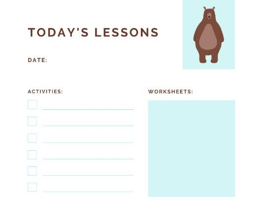 Today's Lessons_Activity Tracker For Preschool