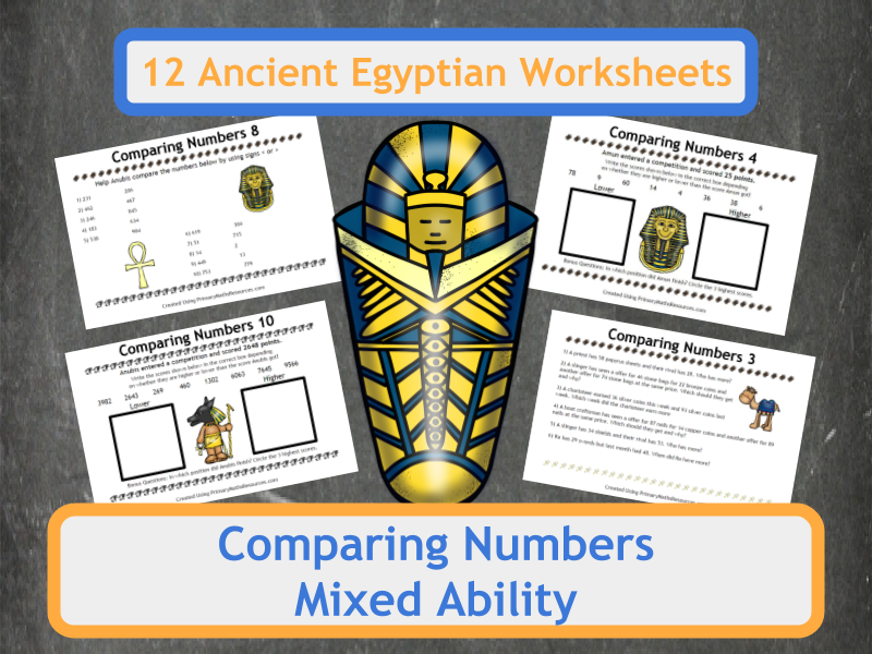 Ancient Egyptian Themed Comparing Numbers Worksheets