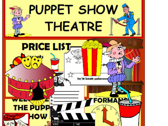 PUPPET SHOW THEATRE ROLE PLAY SET MASKS AND PUPPETS ETC