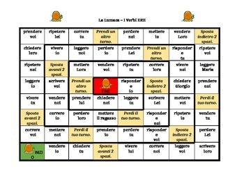 Verbi con ERE (ERE Verbs in Italian) Lumaca Snail game