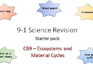 B9 Ecosytems and Material Cyles Revision starter pack Science 9-1