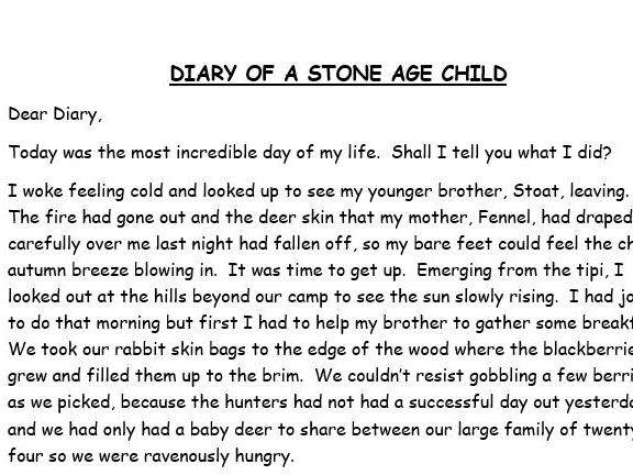 wagoll - diary of a stone age child