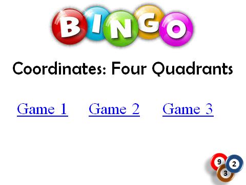 BINGO: Coordinates 4 Quadrants
