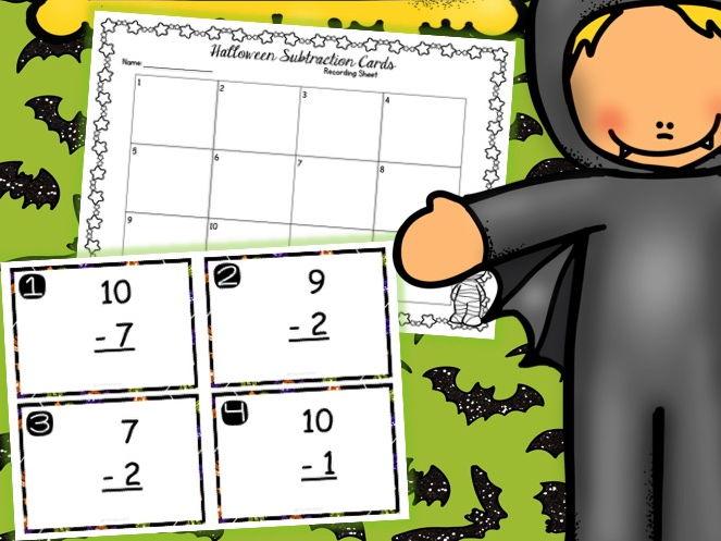 Halloween Subtraction Task Cards