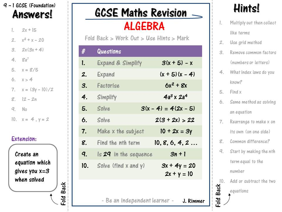 GCSE Maths Revision Foundation 9 - 1 (Revise INDEPENDENTLY worksheets ALGEBRA)  (SET OF 10)