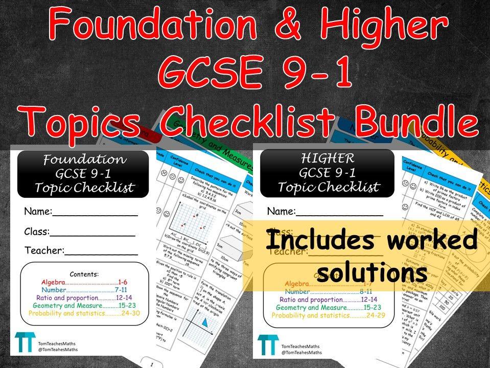 Maths GCSE 9-1 revision topic checklist Bundle