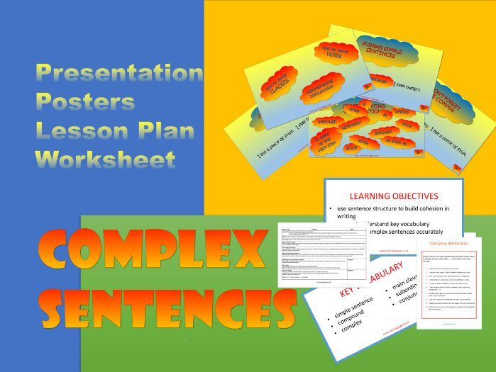 Complex sentences.  Fully Resourced Lesson with Written Practice.