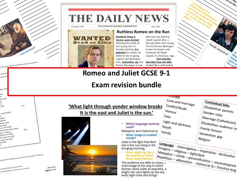 Romeo and Juliet new specification GCSE 9-1 Exam revision bundle