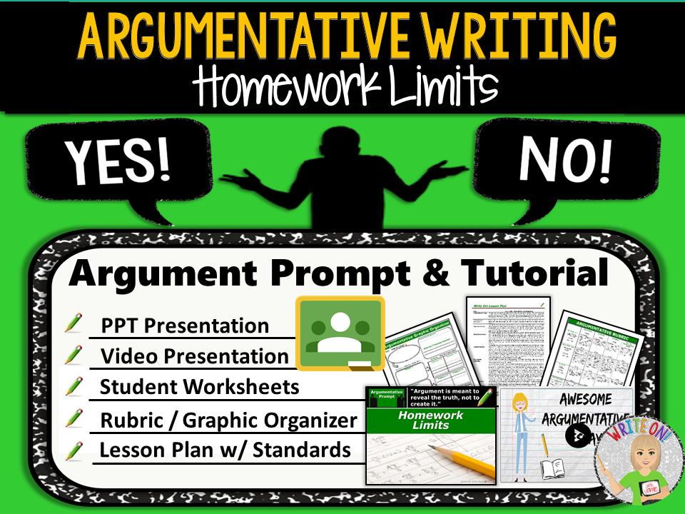 Argumentative Writing Lesson / Prompt – Digital Resource – Homework Limits – High School