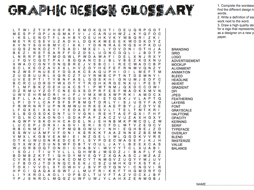Graphic Design Cover Lesson Word Search Key Design Terms