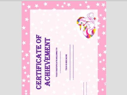 REWARD CHART AND CERTIFICATE - UNICORN THEME FOR HOME/SCHOOL.