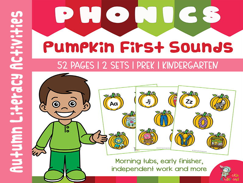 Fall Phonics Activities Pumpkin Beginning Sounds Match | Fall Centers