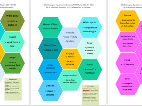 NEW 2018 AQA GCSE PHYSICS all equations SOLO TAXONOMY hexagons