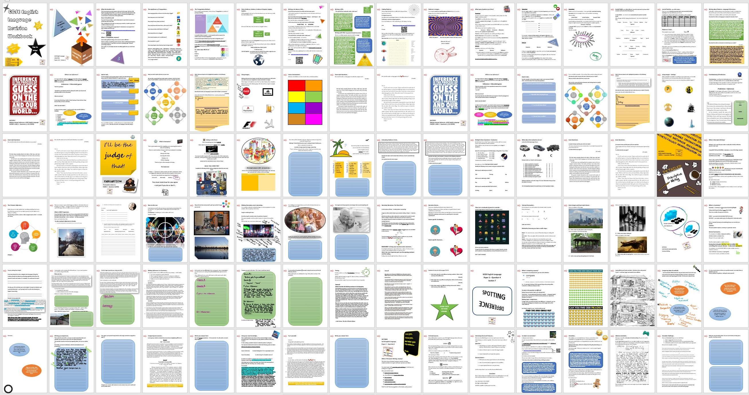AQA 8700 GCSE English Language - Revision Work/Guidebooks - One for each AO