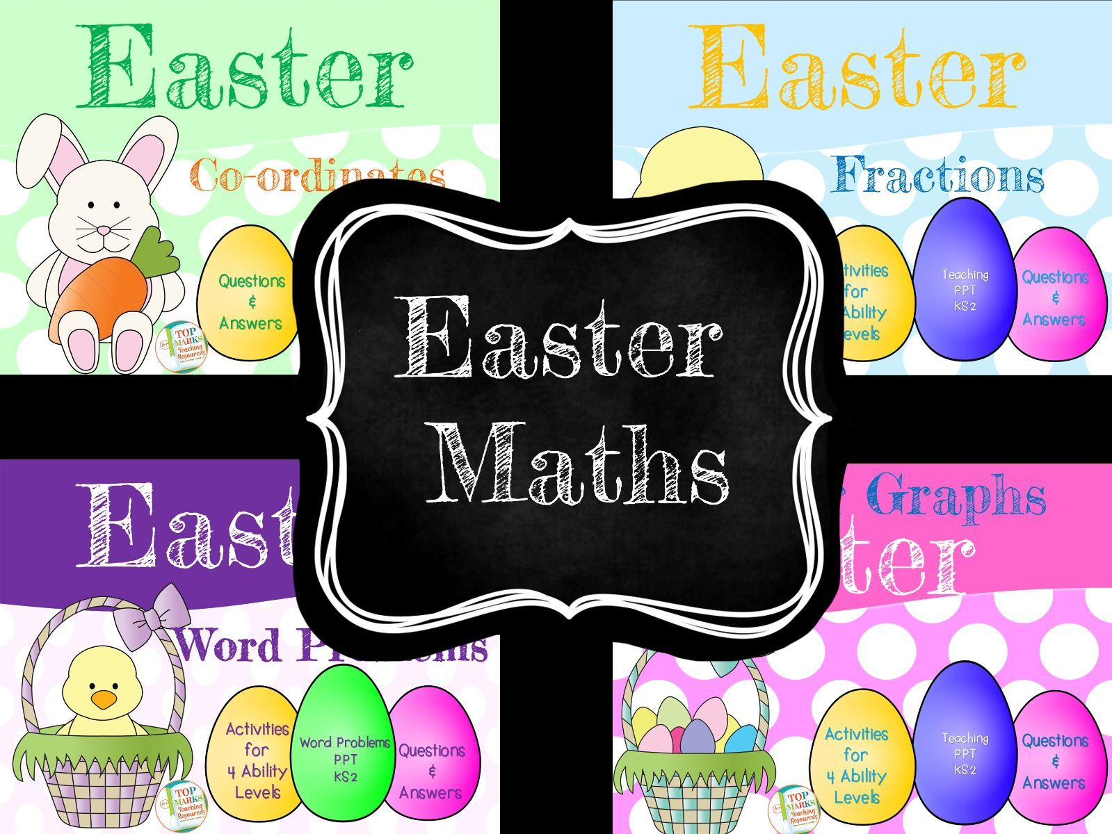 Easter Maths KS2 (Word problems, fractions, bar graphs and Co-ordinates)