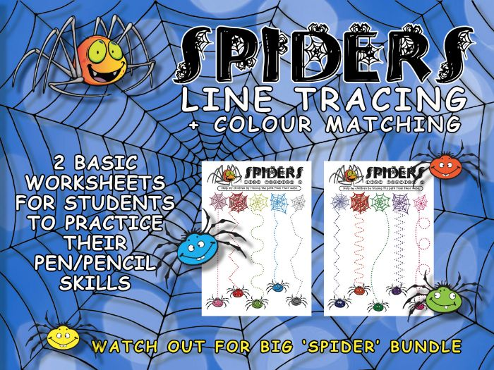 SPIDERS - LINE TRACING ACTIVITY FOR EARLY YEARS PUPILS