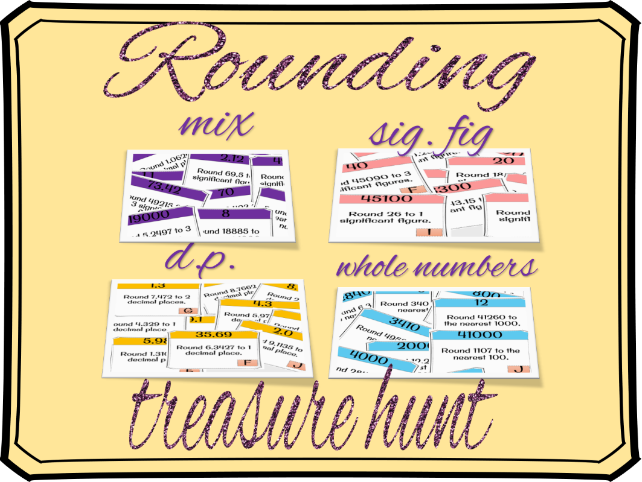 Rounding treasure hunt (10, 100, 1000, whole numbers, decimal places, significant figures)