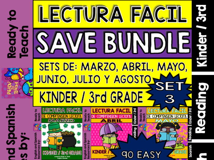 Easy Reading for Reading Comprehension in Spanish - Bundle Set 3 +200 Pgs
