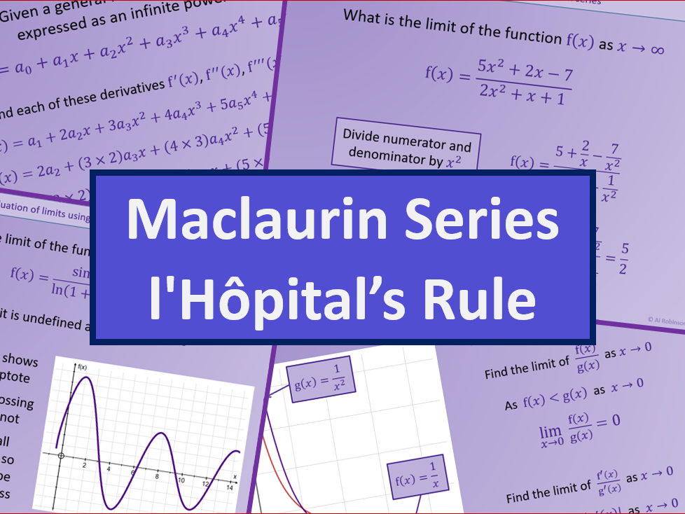 Maclaurin series and l'Hôpital's rule - Further maths A level A2