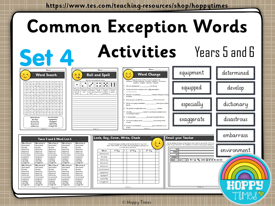 Year 5 / 6 Common Exception Words Spelling Activities ( set 4)