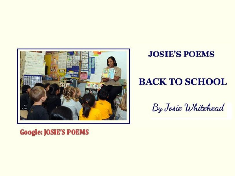 Back to School by Josie Whitehead - a poem for children returning to school after holidays