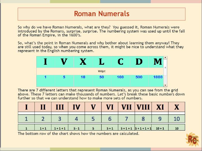 Roman Numerals:  Grade1&2/Year 2&3