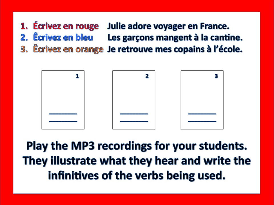 French -ER Verbs Storyboard Listening Comprehension and Writing Activity