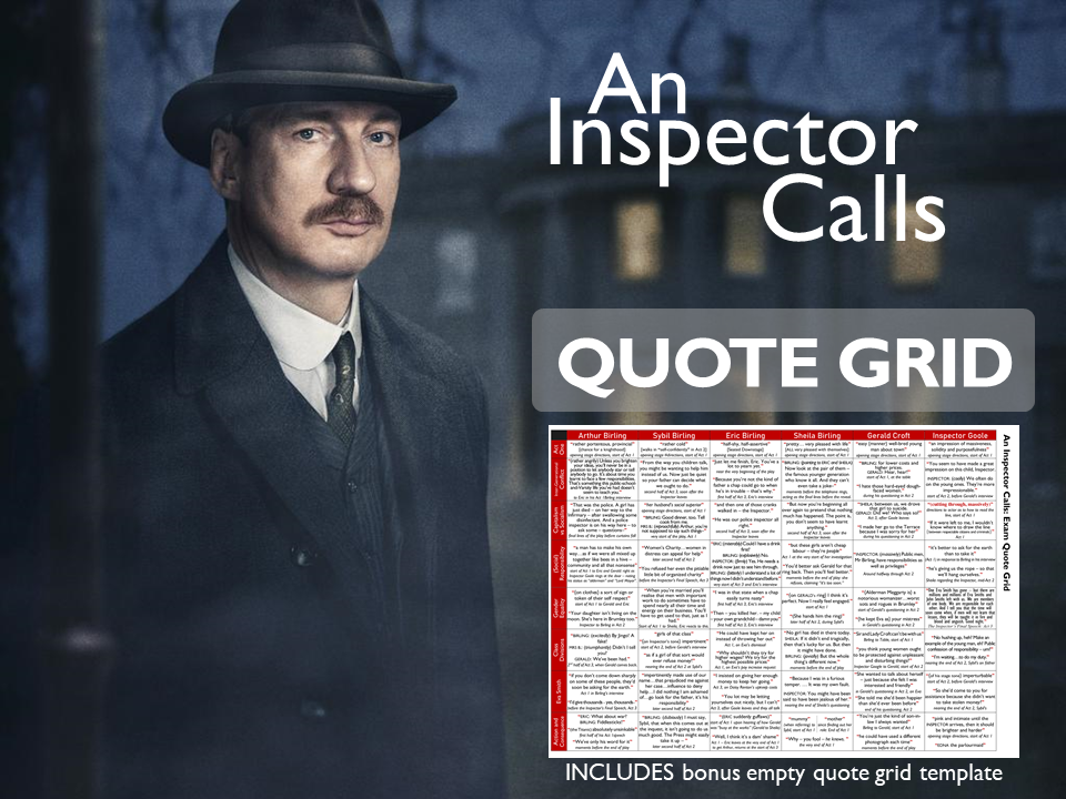 An Inspector Calls GCSE Exam Quote Grid with Themes and Character views