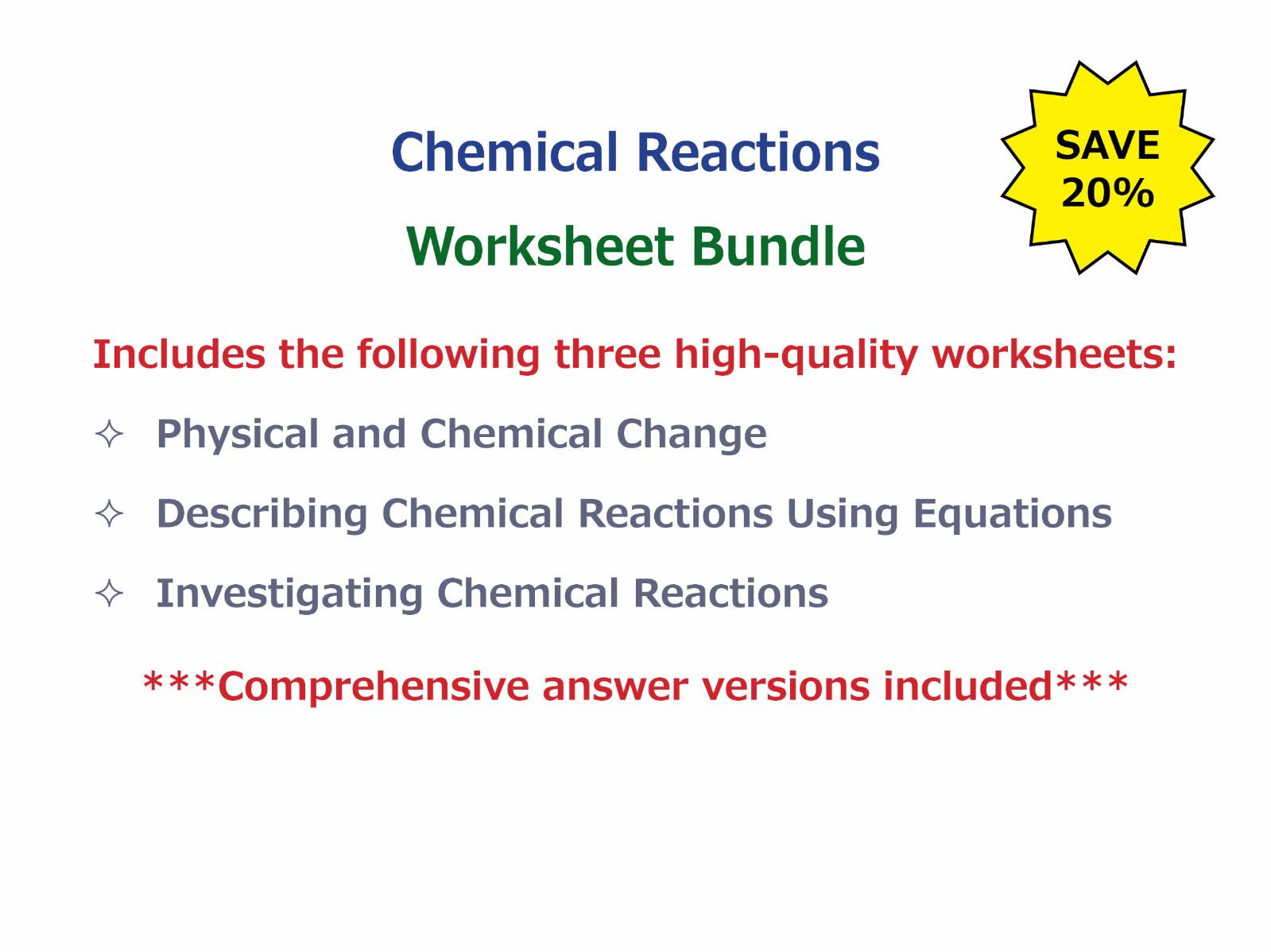 Chemical vs physical change worksheet pdf