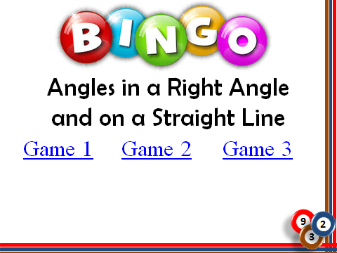 BINGO: Missing Angles_Right Angles & Straight Lines