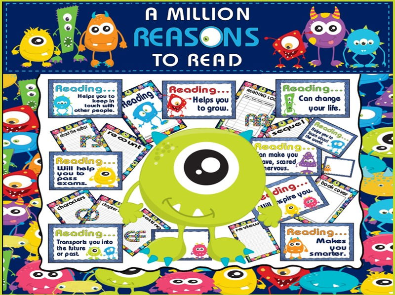 REASONS TO READ DISPLAY TEACHING RESOURCES EYFS KS1-KS2 READING MONSTERS
