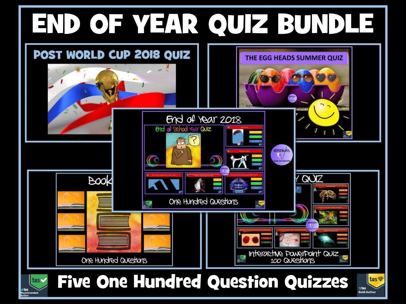 Quiz Bundle: 5 Quizzes - Ideal  End of Year Quiz / End of Term Quiz