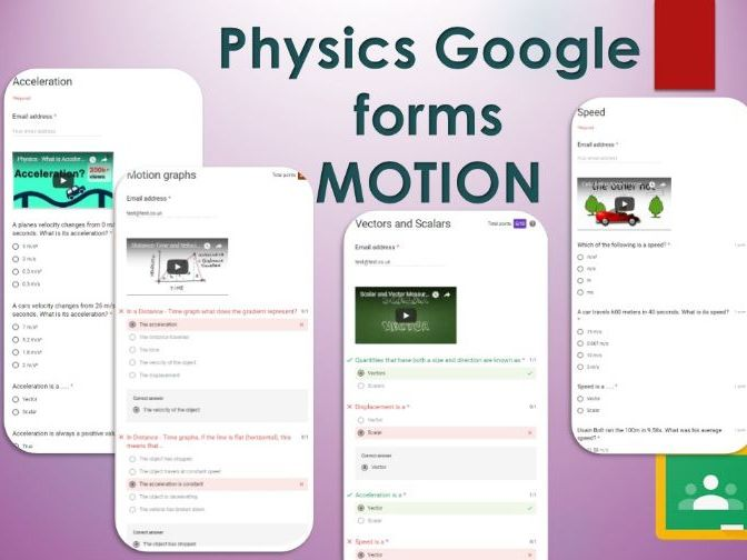 Motion Google forms. Self marking GCSE Physics