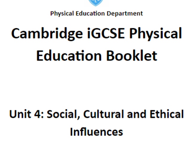 CIE IGCSE PE Unit 4 Lessons Powerpoints and Work Booklet