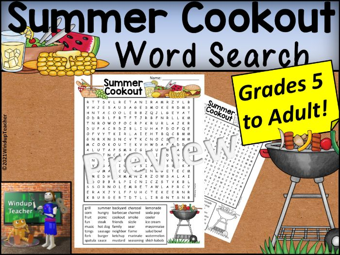 Cookout Word Search HARD for Grades 5 to Adult