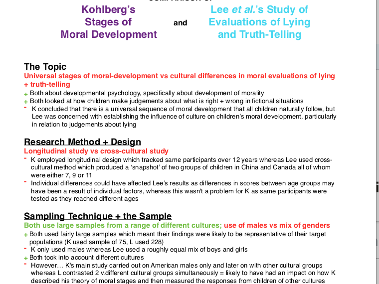 A Level Psychology:Notes/evaluation/comparison/practice questions for Kohlberg and Lee et al studies