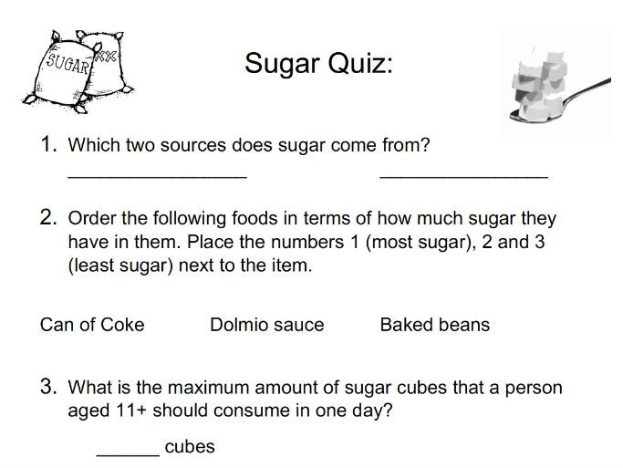 Food & Nutrition: Sugar Quiz
