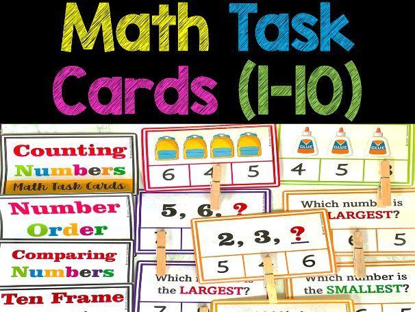 Math Task Cards (1-10) Number Sense for Pre-k, Preschool and Kindergarten