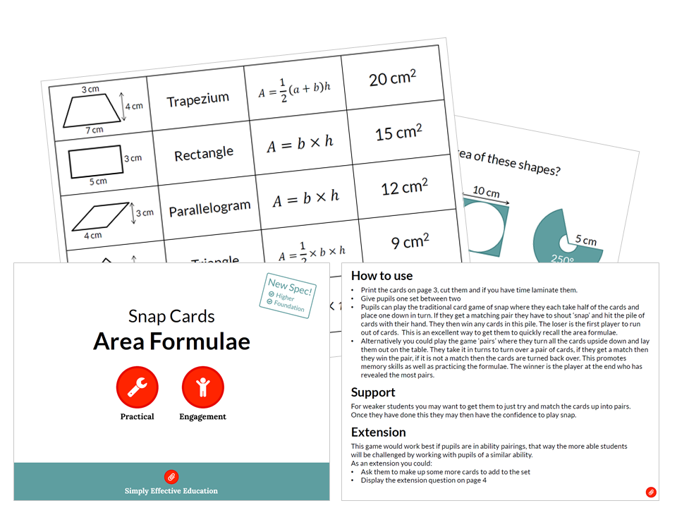 Area Formulae (Snap Cards)