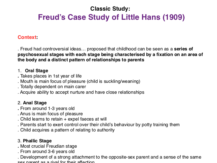 AS/A Level Psychology: Concise notes + evaluation of core study: Freud's Case Study of Little Hans