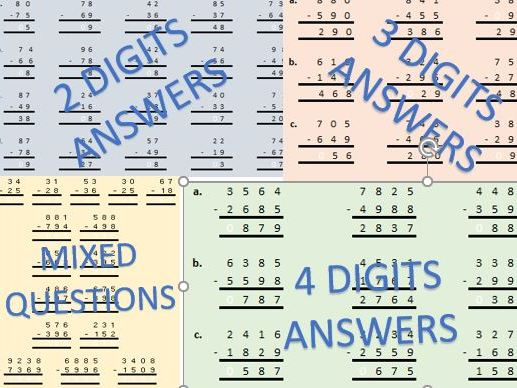 Subtraction Worksheet Bundle for Subtracting 2, 3 and 4 digits all problems involving borrowing
