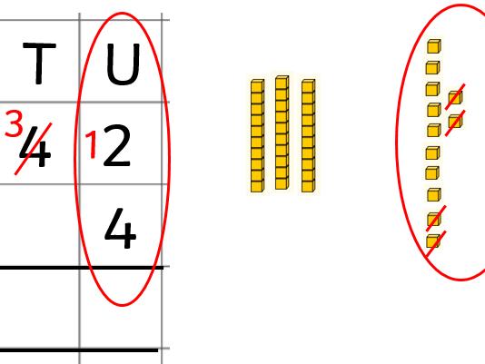 Subtracting 1-digit from 1-digit column method