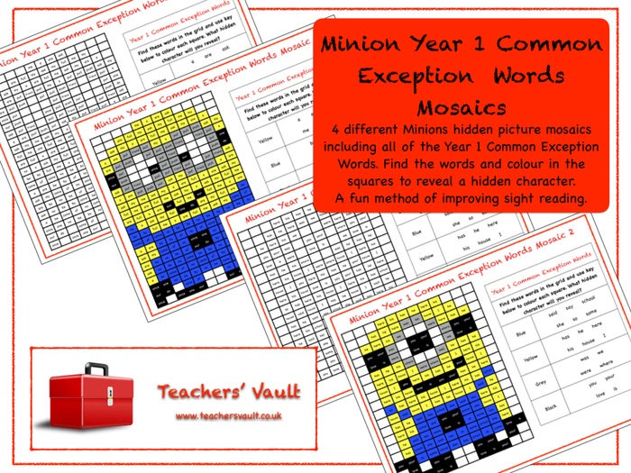Minion Year 1 Common Exception Words Mosaics